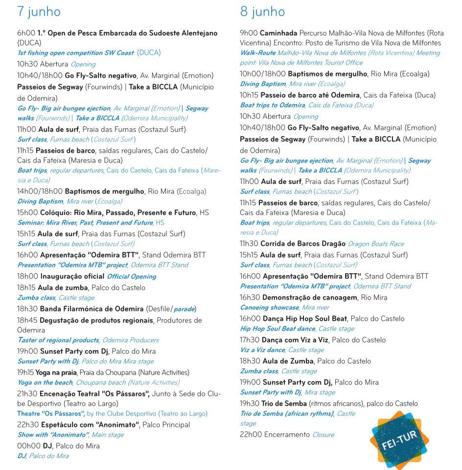 programa da fei-tur 2014 vila nova de milfontes